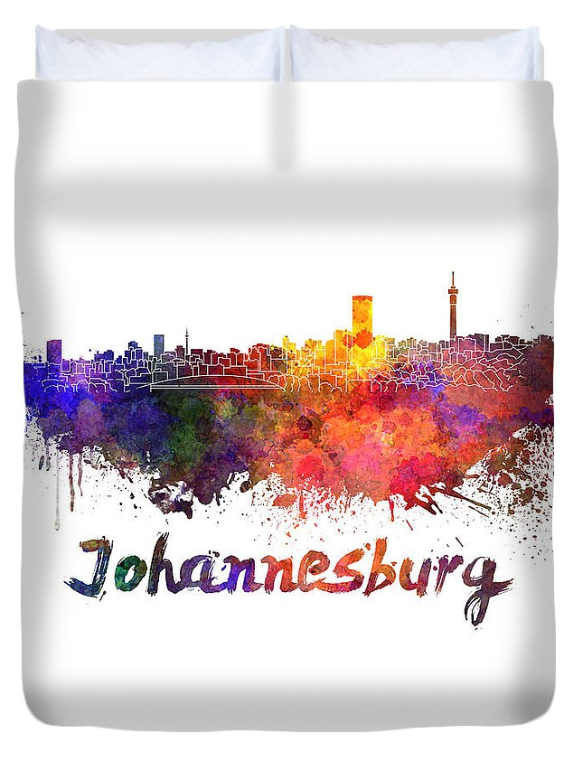 Johannesburg Duvet Cover featuring the painting Johannesburg Skyline In Watercolor by Pablo Romero