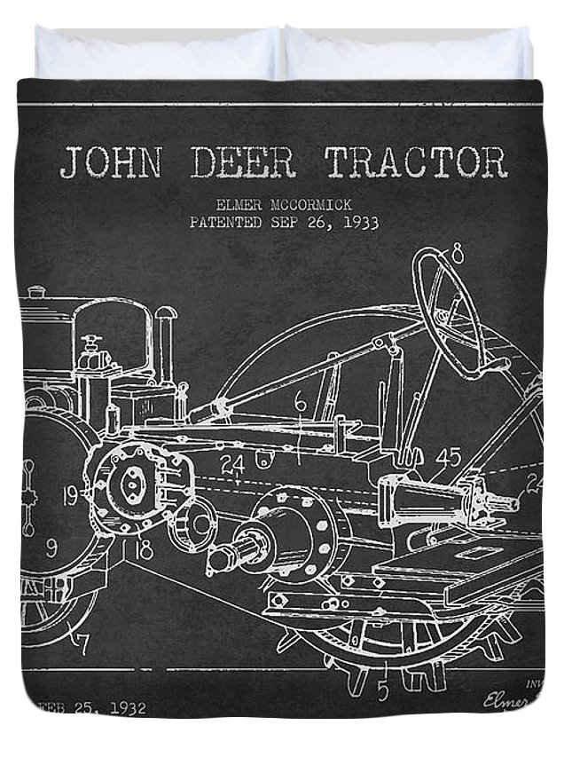 Tractor Duvet Cover featuring the digital art John Deer Tractor Patent Drawing From 1933 by Aged Pixel