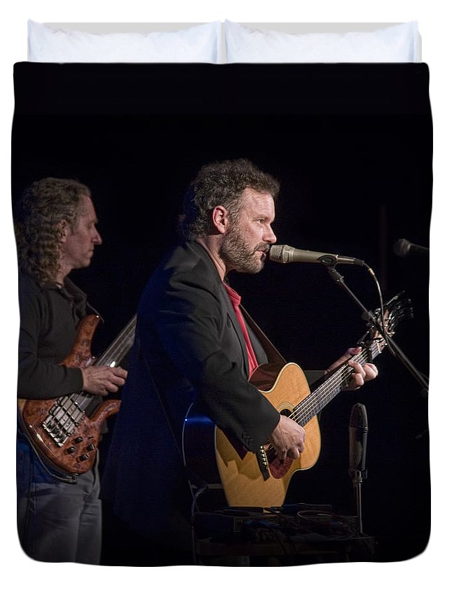 Art Duvet Cover featuring the photograph John Gorka And Michael Manring In Concert by Randall Nyhof