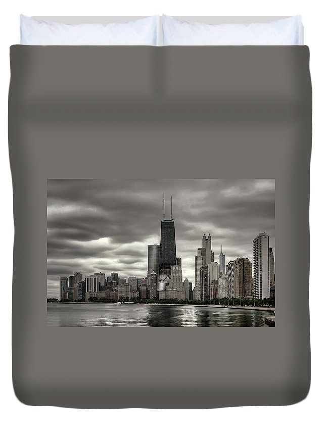 Chicago Duvet Cover featuring the photograph John Handcock Building From The Lake Shore by Ken Smith