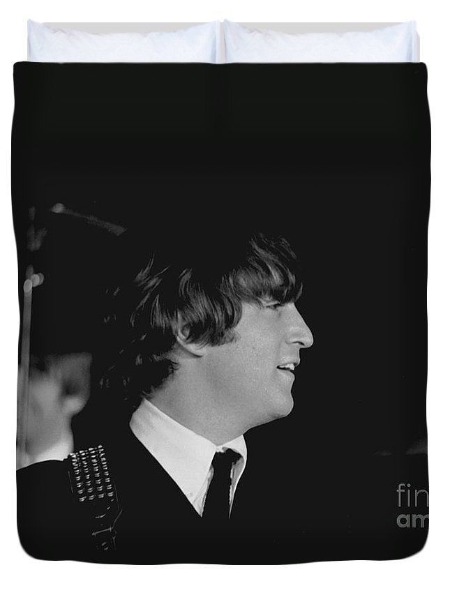 Beatles Duvet Cover featuring the photograph John Lennon, Beatles Concert, 1964 by Larry Mulvehill