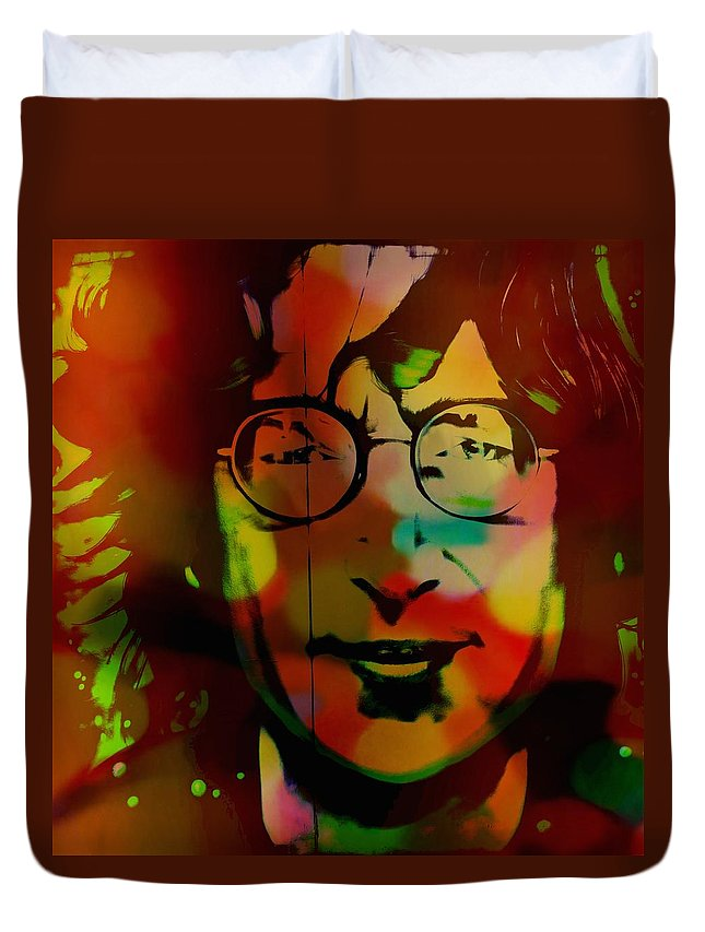 Mark J Dunn Duvet Cover featuring the photograph John Lennon by Mark J Dunn