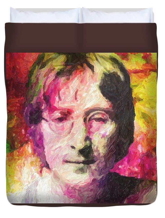 John Lennon Duvet Cover featuring the painting John Lennon by Zapista OU