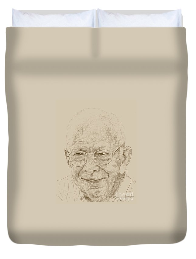 Memory Care Duvet Cover featuring the drawing John by PainterArtist FIN