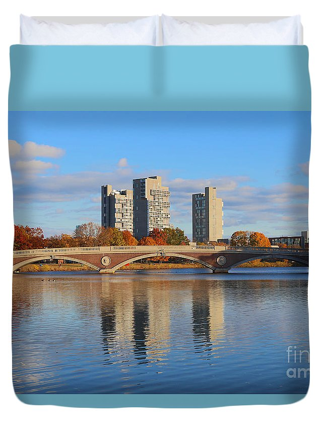Andrew Canzanelli Duvet Cover featuring the photograph John W. Weeks Bridge by Jannis Werner