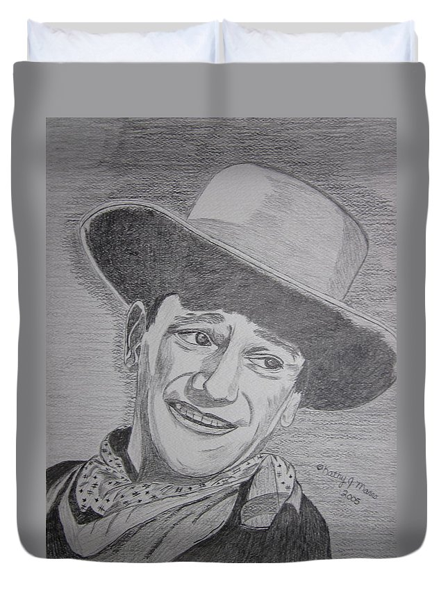 John Wayne Duvet Cover featuring the painting John Wayne by Kathy Marrs Chandler