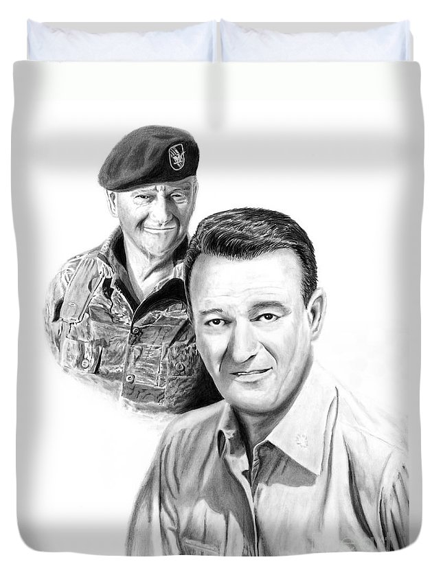 John Wayne Duvet Cover featuring the drawing John Wayne by Peter Piatt