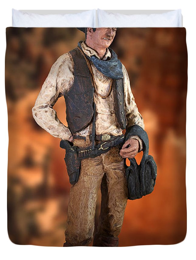 John Wayne Duvet Cover featuring the photograph John Wayne The Cowboy by Thomas Woolworth