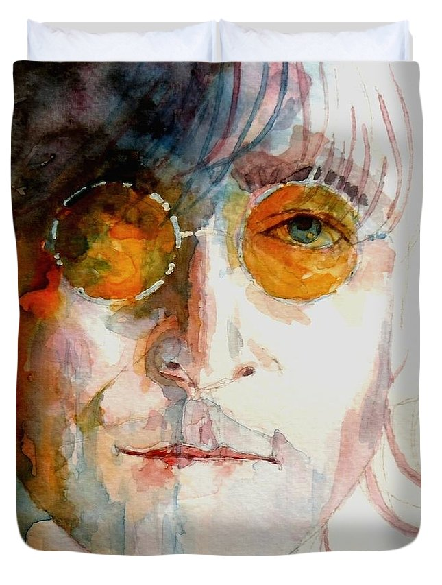 John Lennon Duvet Cover featuring the painting John Winston Lennon by Paul Lovering