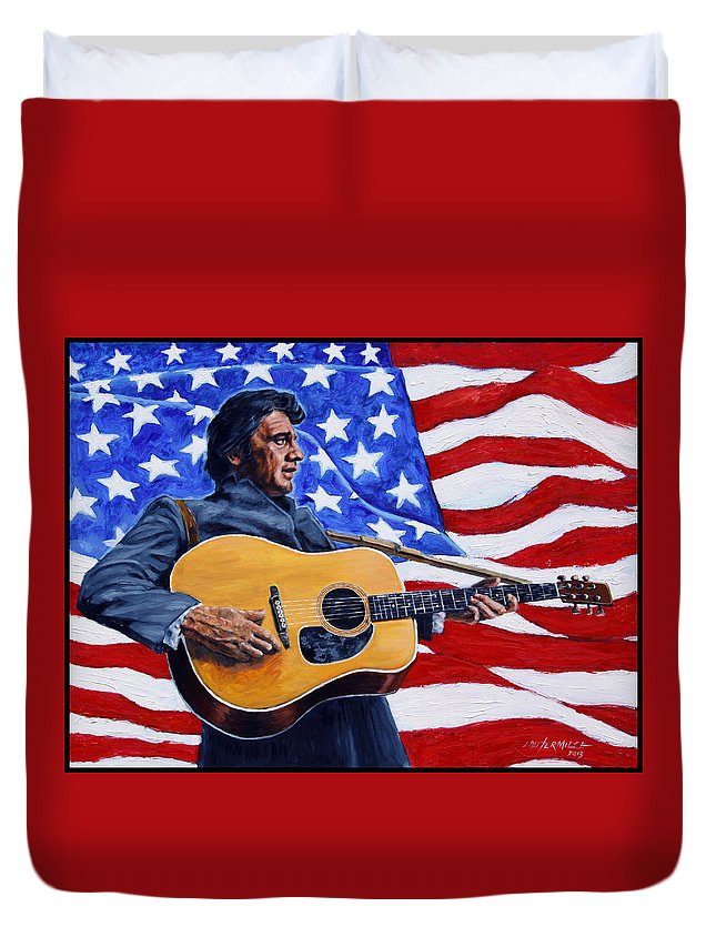 Johnny Cash Duvet Cover featuring the painting Johnny Cash by John Lautermilch