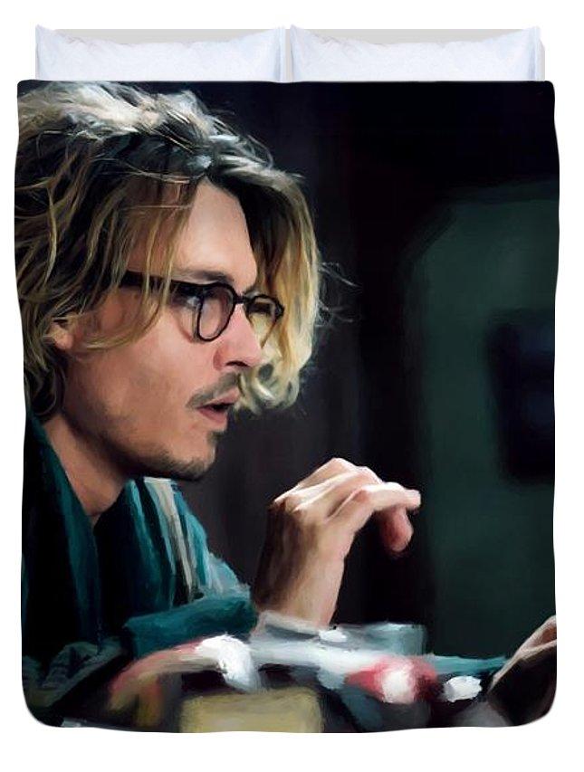 David Koepp Films Duvet Cover featuring the digital art Johnny Depp as Mort Rainey @ Secret Window by Gabriel T Toro
