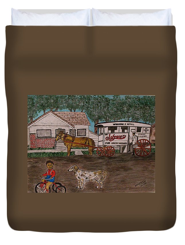 Johnson Creamery Duvet Cover featuring the painting Johnsons Milk Wagon Pulled By A Horse by Kathy Marrs Chandler