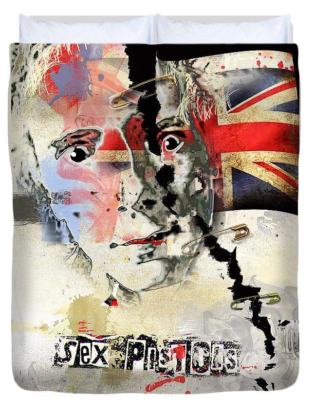 Johny Rotten Duvet Cover featuring the digital art Johny Rotten by Dray Van Beeck