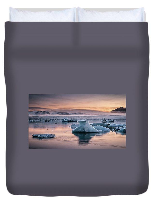 Scenics Duvet Cover featuring the photograph Jokulsarlon Sunrise by Andreas Wonisch
