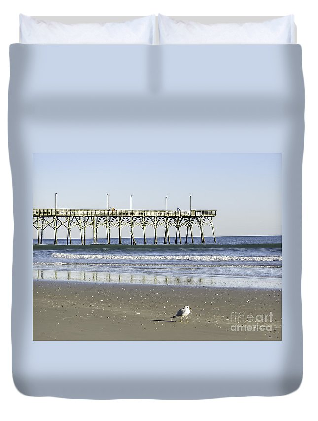 Topsail Beach Pier Duvet Cover featuring the photograph Jolly Roger Pier On Topsail Beach Nc by Crissy Anderson
