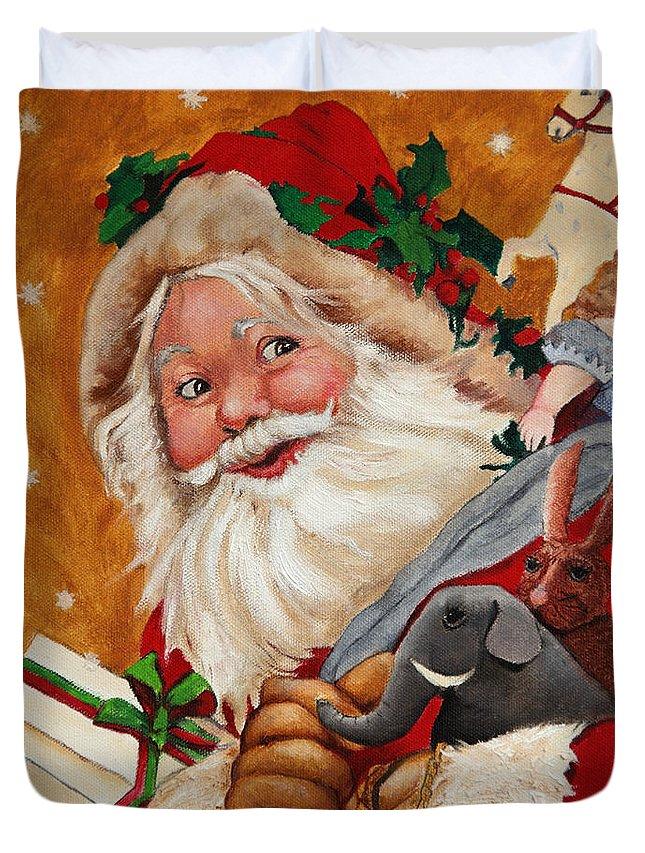 Seasonal Art Duvet Cover featuring the painting Jolly Santa by Enzie Shahmiri