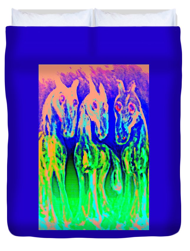Horses Duvet Cover featuring the painting They Call Us The Jolly Trolls And We Call Them Just Stupid by Hilde Widerberg
