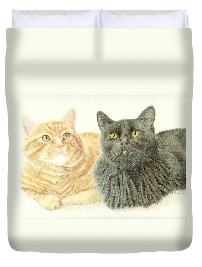 Cat Duvet Cover featuring the drawing Jonzy And Black by Jennie Richards