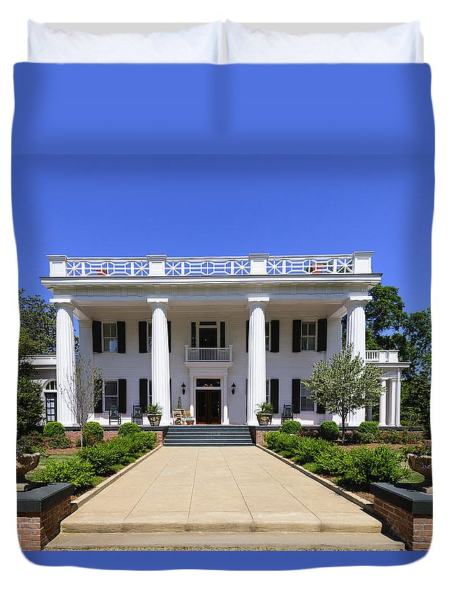 Georgia Duvet Cover featuring the photograph Joshua Hill House In Madison Georgia by Steve Samples