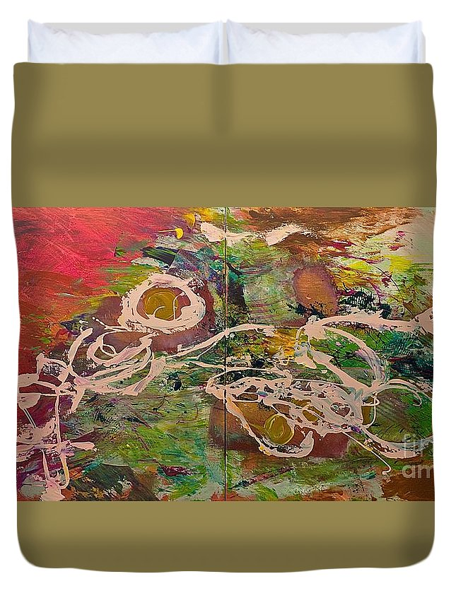 Landscape Duvet Cover featuring the painting Journey Forth by Allan P Friedlander