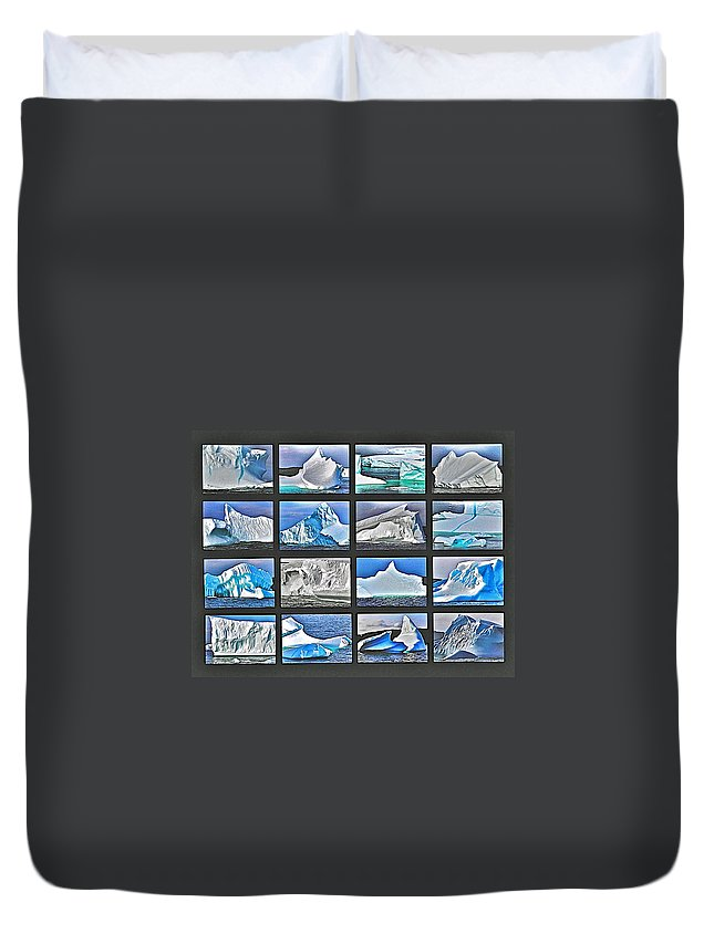 Journey's End For Vanishing Icebergs Photo Assemblage In Saint Anthony Duvet Cover featuring the photograph Journey's End For Vanishing Icebergs Assemblage In Saint Anthony-newfoundland by Ruth Hager