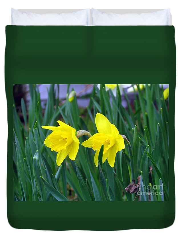 Jonquil Duvet Cover featuring the photograph Jovial Jonquils by Elizabeth Dow