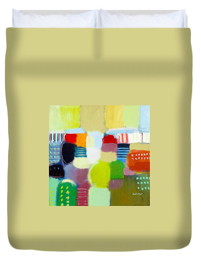 Peace Duvet Cover featuring the painting Joy N Peace by Habib Ayat