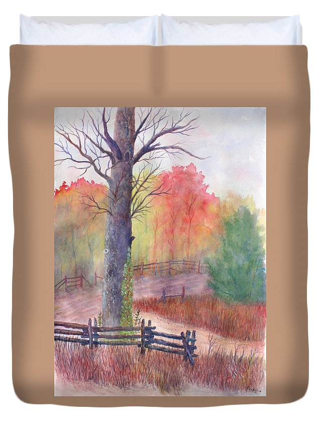 Fall Duvet Cover featuring the painting Joy of Fall by Ben Kiger