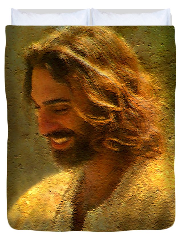 Jesus Duvet Cover featuring the painting Joy of the Lord by Greg Olsen