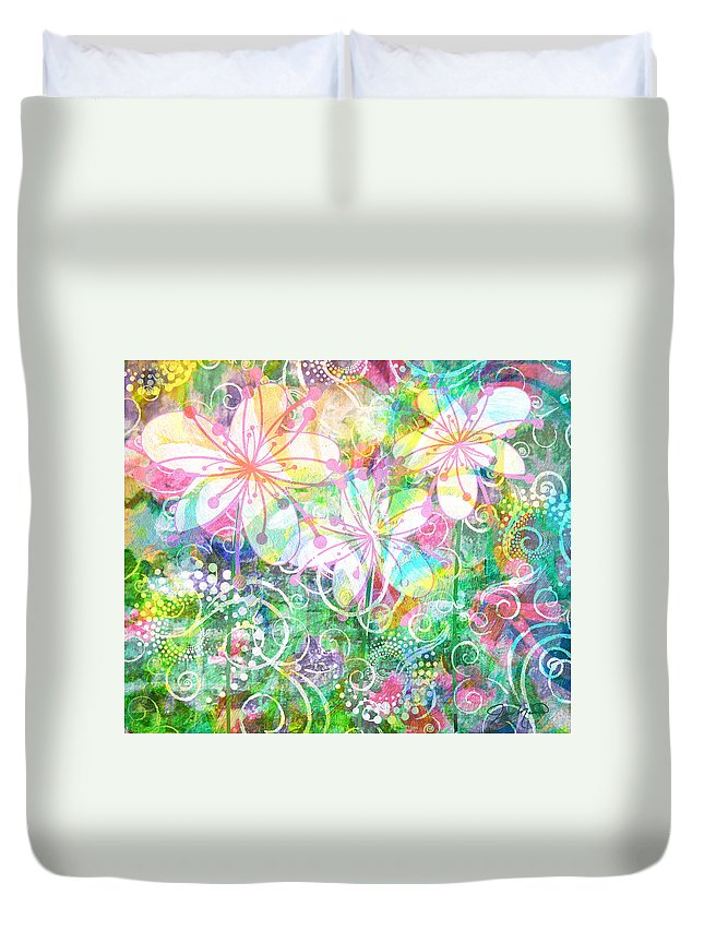 Flowers Duvet Cover featuring the painting Joyful Flowers By Jan Marvin by Jan Marvin