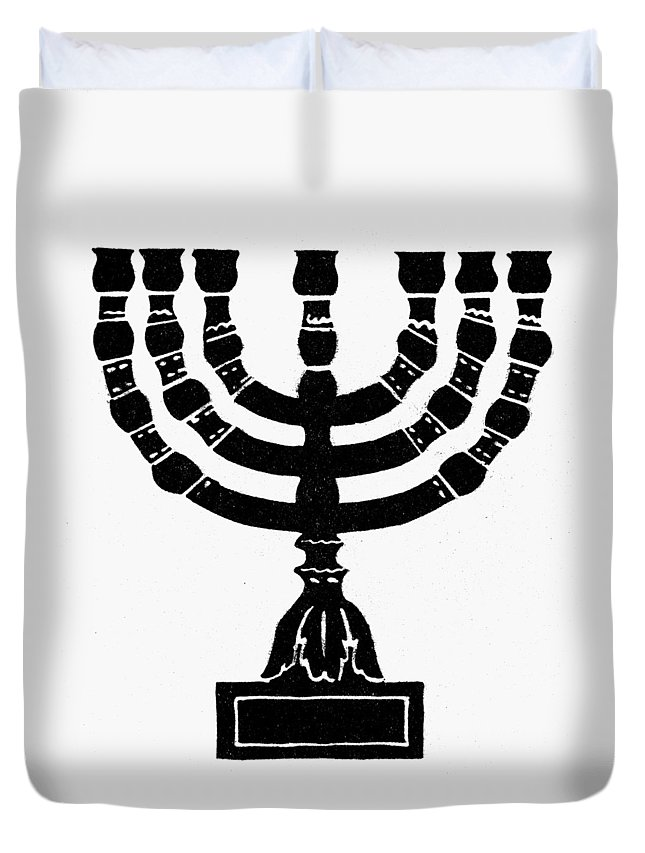 Candelabra Duvet Cover featuring the painting Judaism Candelabra by Granger