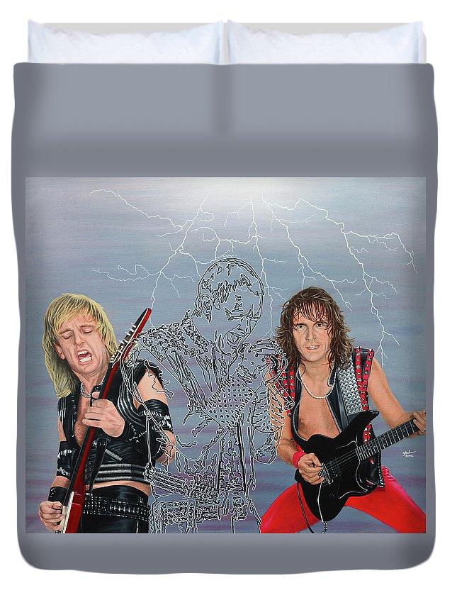 Judas Priest Duvet Cover featuring the painting Judas Priest by Sue Brehm