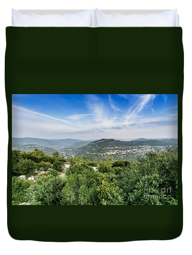 Israel Duvet Cover featuring the photograph Judean Foothills Landscape by Sv