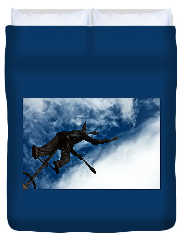 Blue Duvet Cover featuring the photograph Juggling Statue by Jess Kraft