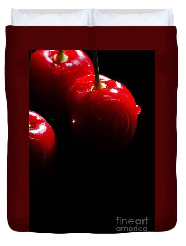 Black Duvet Cover featuring the photograph Juicy Cherries by Jan Brons