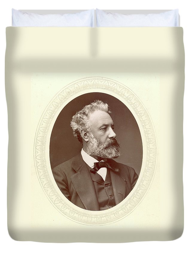 1877 Duvet Cover featuring the photograph Jules Verne (1828-1905) by Granger