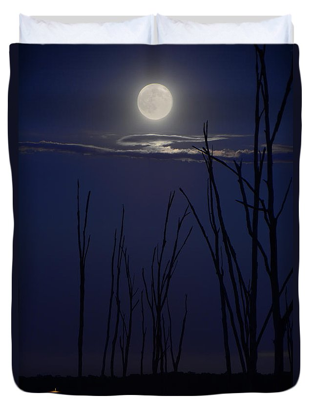 July 2014 Super Moon Duvet Cover featuring the photograph July 2014 Super Moon by Raymond Salani III
