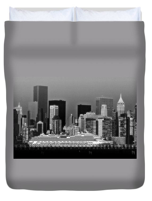 Carnival Duvet Cover featuring the photograph July 7 2014 - Carnival Splendor At New York City - Image 1674-02 by Larry Jost