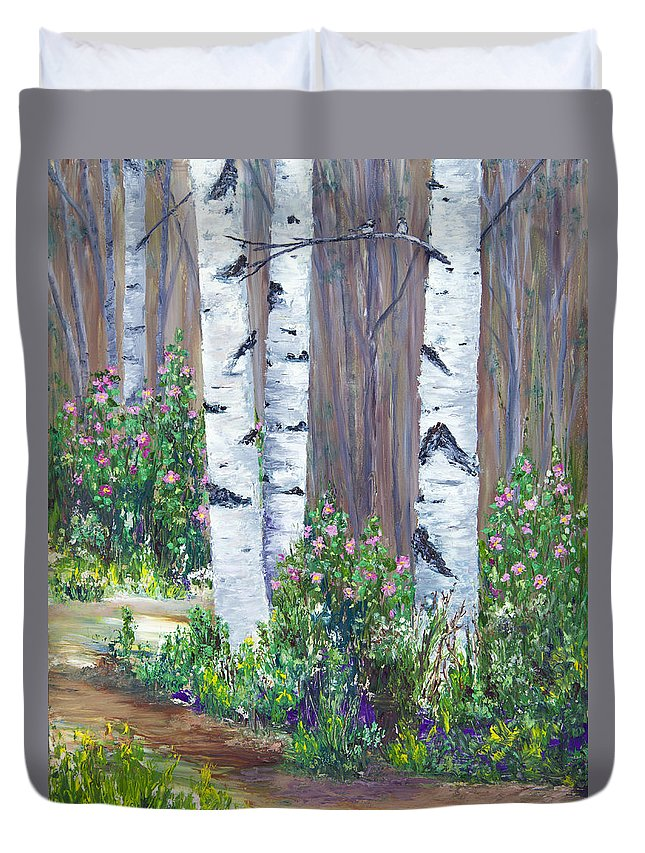 Birch Duvet Cover featuring the photograph June Roses by Dee Carpenter