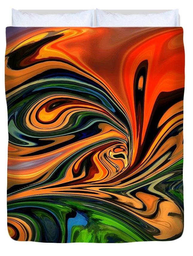 Abstract Duvet Cover featuring the digital art Jungle Eyes by Chris Butler