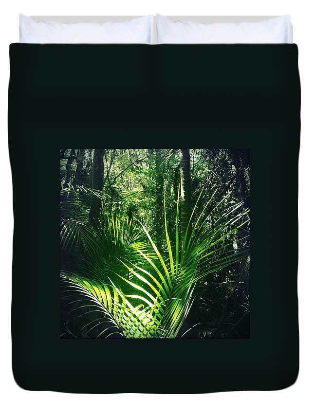 Rain Forest Duvet Cover featuring the photograph Jungle Fern by Les Cunliffe