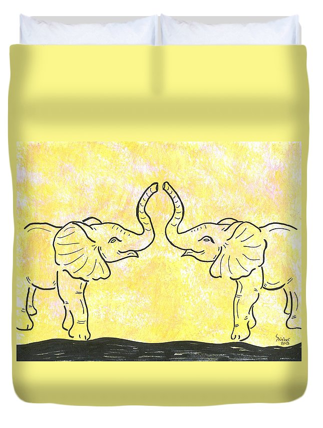 Elephant Duvet Cover featuring the painting Jungle Love by Susie WEBER