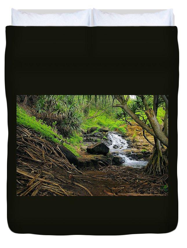 Jungle Duvet Cover featuring the photograph Jungle Stream Kauai by John Greaves