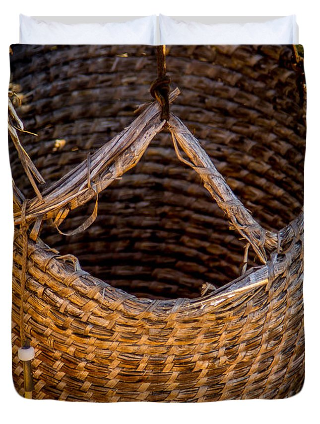 Basket Duvet Cover featuring the photograph Just A Basket by Tony Noto