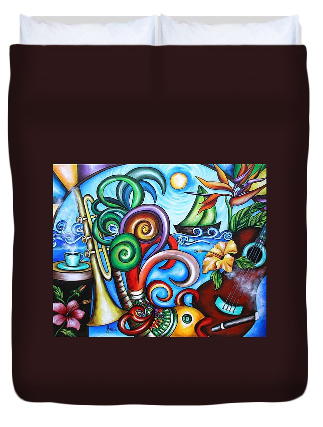 Cuba Duvet Cover featuring the painting Just A Day In Paradise by Annie Maxwell