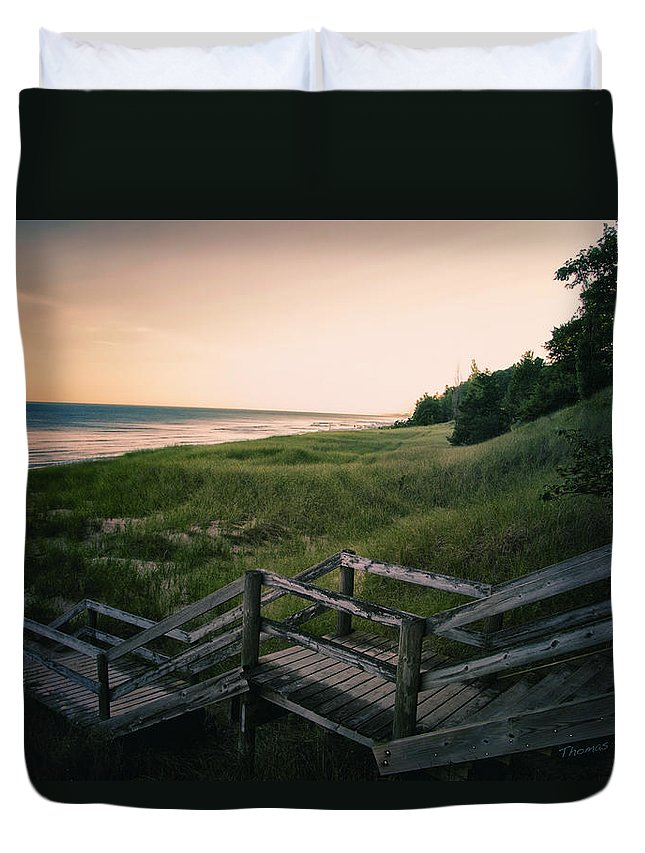 Sand Duvet Cover featuring the photograph Just A Few More Steps To The Lake by Thomas Woolworth