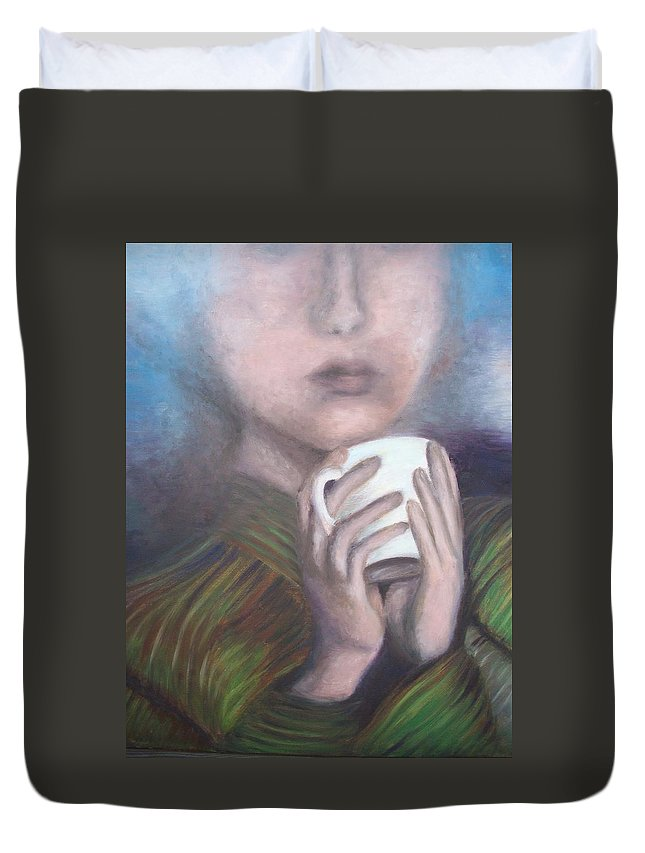 Portrait Duvet Cover featuring the painting Just A Rainy Day by Mila Kronik