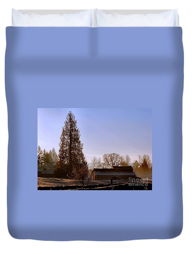 Landscape Duvet Cover featuring the photograph Just After Dawn by Rory Sagner