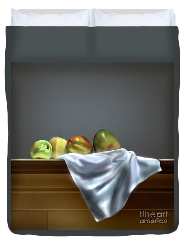 Still Life Painting Duvet Cover featuring the painting Just Apples And Mangos by Reggie Duffie