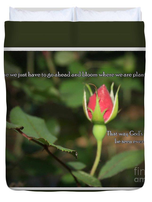 Sandra Clark Duvet Cover featuring the photograph Just Bloom by Sandra Clark
